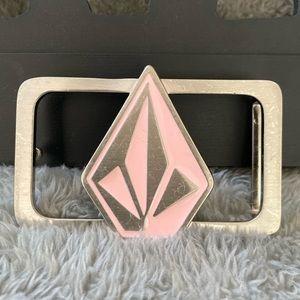 Pink volcom belt buckle